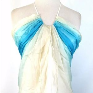Laundry Shelli Segal Silk Pleated Halter Ombré L